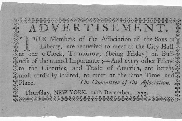 A Sons of Liberty advertisement that reflects the ideologies of some of the population during the American Revolution.